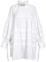 Cellabie CELLABIE Women's Blouses White - White Ribbon Stripe Ruffle-Neck Tunic - Women