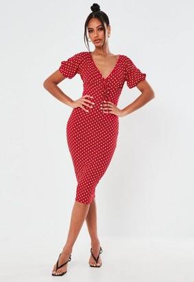 Missguided Red Polka Dot Puff Sleeve Midi Dress
