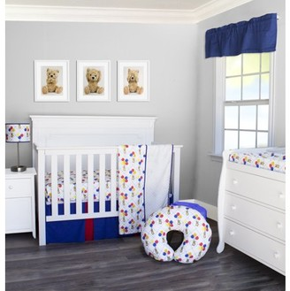 Pam Grace Creations Classic Teddy Bear 3 Piece Crib Bedding Set