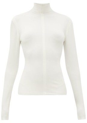 Bottega Veneta High-neck Long-sleeved Jersey Top - Ivory