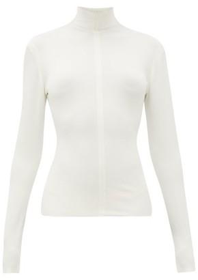 Bottega Veneta High-neck Long-sleeved Jersey Top - Womens - Ivory