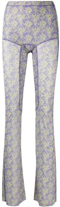 Charlotte Knowles Floral Print Flared Trousers