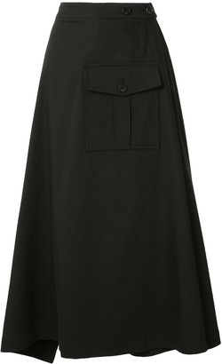 GOEN.J Asymmetric Flared Midi Skirt