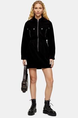 Topshop Womens Black Corduroy Zip Through Shirt Dress - Black