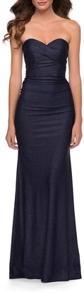 La Femme Strapless Metallic Jersey Gown with Ruching