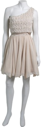Little Mistress Cream One Shoulder Applique Rose Dress
