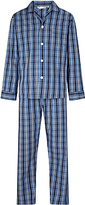 Derek Rose Check Woven Cotton Pyjamas, Navy