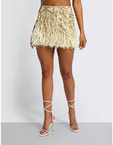 Missguided Sequin and feather embellished mini skirt