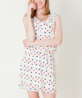 Ivory Polka Dot Sleeveless Tie-Waist Dress