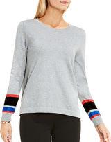 Vince Camuto Petite Striped Cuff Sweater
