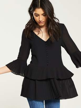 Very Pleated Buttoned Tiered Tunic - Black