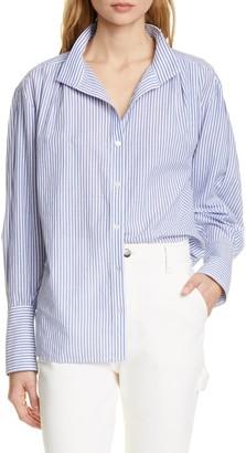 Frame Stripe Clean Collar Pleated Shirt