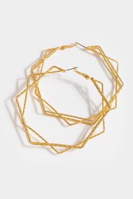 francesca's Danna Layered Hexagon Hoops - Silver