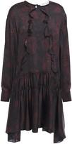 IRO Gathered Ruffle-trimmed Printed Silk Mini Dress