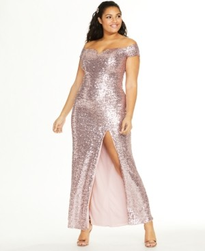 B. Darlin Trendy Plus Size Off-The-Shoulder Sequined Gown