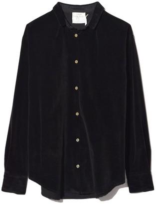 Forte Forte Slubbed Cotton Velvet Shirt in Nero