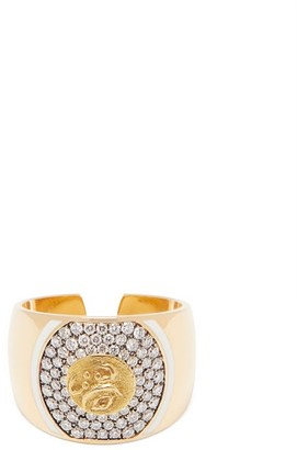 Francesca Villa Diamond & 18kt Gold Signet Ring - Gold