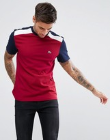 Lacoste Pique Colour Block T-shirt In Burgundy