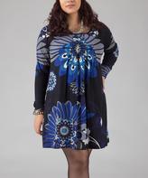 Aller Simplement Blue Bloom Shift Dress - Plus