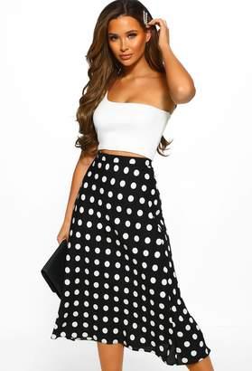Pink Boutique Dot No Regrets Black Dotty Print Shift Midi Skirt