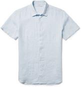 Orlebar Brown Meden Slub Linen Shirt - Sky blue
