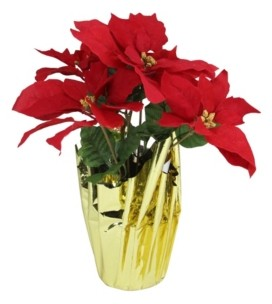 Northlight Artificial Christmas Poinsettia Arrangement with Wrapped Pot