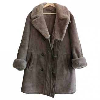 Non Signé / Unsigned Non Signe / Unsigned Oversize Anthracite Suede Coat for Women