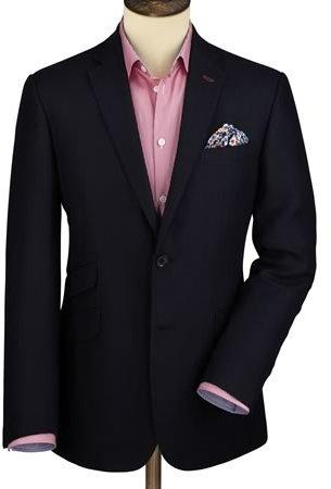Charles Tyrwhitt Navy wool linen tailored fit blazer