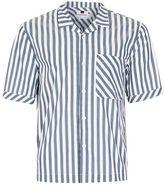 Topman Grey and White Block Stripe Short Sleeve Casual Shirt