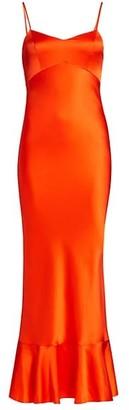 Saloni Crepe Satin Slip Dress