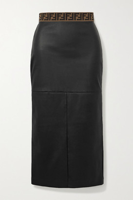 Fendi Jacquard-trimmed Leather Midi Skirt - Black