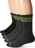 Reebok Men's 5 Pack Performance Striped Tube Logo Crew Sock