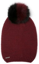 Soia & Kyo Women's Slouchy Knit Beanie With Genuine Fox Fur Pompom - Burgundy