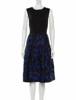 Oscar de la Renta Wool Midi Length Dress Wool