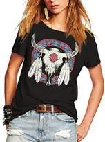 Romastory Women's Street Style Printed T-Shirts Short Sleeve Loose Tops Tee Shirt