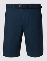Blue Harbour Cotton Rich Textured Shorts With Belt