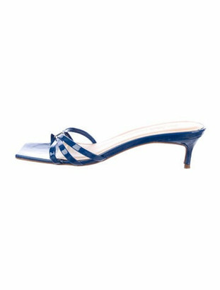 BY FAR Patent Leather Sandals Blue
