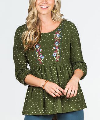 Matilda Jane Clothing Women's Blouses - Green Pin Dot Through Generations Top - Women