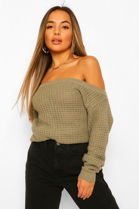 boohoo Petite Waffle Knit Off The Shoulder Sweater Dress