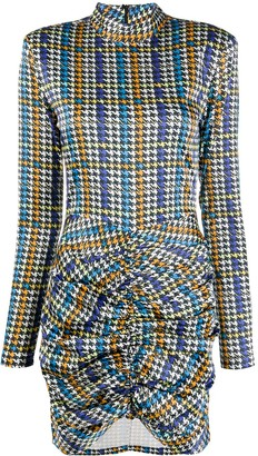 Rotate by Birger Christensen Houndstooth Ruched Mini Dress