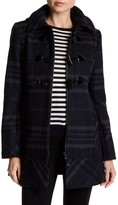 GUESS Plaid Toggle Front Coat