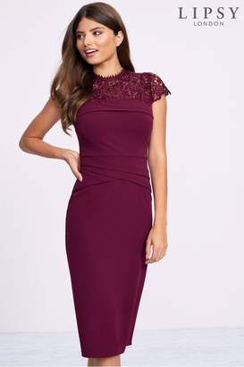 Lipsy Lace Detail Bodycon Dress - 12 - Red