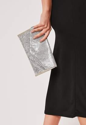 Missguided Silver Diamante Envelope Clutch Bag
