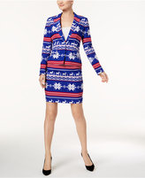 OppoSuits One-Button Printed Holiday Skirt Suit