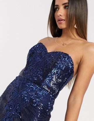 Goddiva sweetheat neck embrioded midi dress