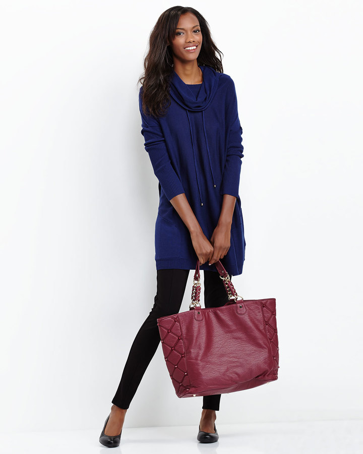 Deux Lux Empress Side Quilted Spike Tote, Berry