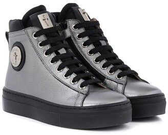Cesare Paciotti Kids Metallized Logo High-Top Sneakers
