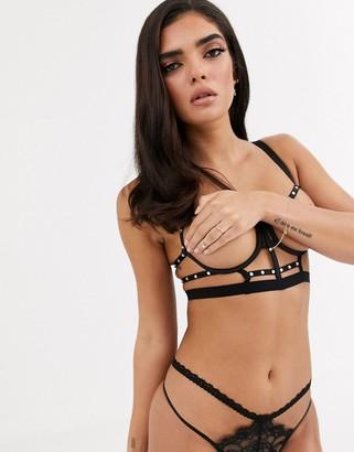 Asos Design DESIGN Bella cut out longline underwire bra with diamante detail-Black