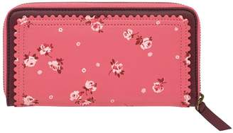 Cath Kidston Wimbourne Ditsy Scalloped Leather Continental Wallet- Pink
