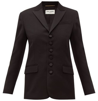 Saint Laurent Peak-lapel Single-breasted Wool Blazer - Womens - Black